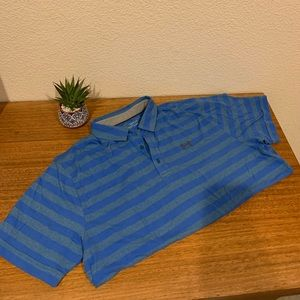 Under Armour Men's blue striped polo, XL.